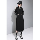 Chic Contrast Inverted Seam Cold Shoulder Long Sleeve Split Back Maxi Hoodie Dress