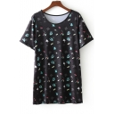Fashionable Crown Floral Letter Pattern Round Neck Short Sleeves Casual Tee