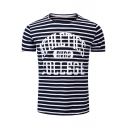 Pop Fashion Letter Striped Print Round Neck Short Sleeves Men's Tee