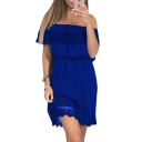 Trendy Plain Off the Shoulder Lace Panel Elastic Waist Mini A-line Dress