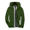 Basic Simple Plain Long Sleeve Zip Up Sun-Proof Hooded Coat