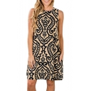New Trendy Tribal Printed Round Neck Sleeveless Mini A-Line Dress