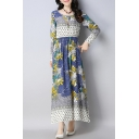 Retro Floral Print Round Neck Long Sleeve Maxi A-line Dress