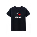 Casual Letter Sweetheart Print Round Neck Short Sleeves Summer T-shirt