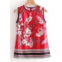 Popular Floral Pattern Pompom Detail Striped Hem Loose Tank Top
