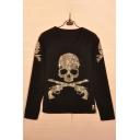 Skull Gun Printed Diamante Embellished Round Neck Long Sleeve Pullover Sweatshirt