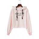 Autumn Fashion Letter Print Fleece Lined Long Sleeves Cropped Hoodie