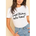 Casual Letter Print Round Neck Short Sleeves Summer T-shirt
