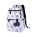 Chic Cat Cartoon Chinese Pattern Pompom Embellished Zippered Backpack School Bag