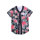 Chic Floral Letter Pattern Button Front V-Neck Short Sleeve Baseball Tee
