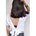 Daily Fashion Plain Bow Tie V-Back Short Sleeve Pullover Tee