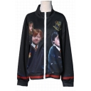 Fashionable Movie Character Owl Letter Print Zip Up High Neck Striped Trim Coat