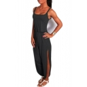 Leisure Comfort Spaghetti Straps Sleeveless Elastic Waist Plain Split Side Jumpsuit