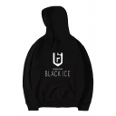Popular Graphic Letter Pattern Long Sleeves Pullover Hoodie with Pocket