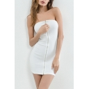 Sexy Zip Up Front Ribbed Plain Mini Tube Bodycon Dress