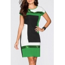 Elegant Sequined Patchwork Color Block Round Neck Short Sleeve Mini T-shirt Dress