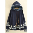 Cartoon Deer Printed Drawstring Hood Long Sleeve Leisure Hoodie