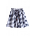 Spring Collection Plaid Printed Drawstring Waist Mini A-Line Skirt