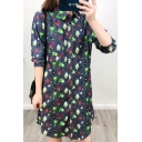 Cute Cartoon Dinosaur Printed Lapel Collar Long Sleeve Single Breasted Dip Hem Shirt