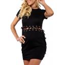 Chic Plain Lace Up Grommet Embellished Waist Round Neck Short Sleeve Plain Mini Bodycon Dress