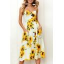 Top Design Sunflower Floral Print Spaghetti Straps Button Pocket Detail Midi Cami Dress
