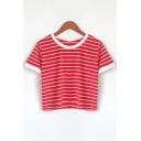 Stylish Striped Pattern Round Neck Short Sleeves Casual Cropped Tee