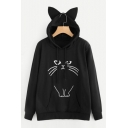 Cute Cat Cartoon Pattern Long Sleeves Pullover Ears Hoodie