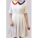 Childish Color Block Contrast Collar Simple Mini A-line Dress