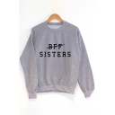 Top Sale Letter Pattern Round Neck Long Sleeves Pullover Sweatshirt