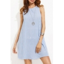 Simple Striped Print Round Neck Sleeveless Keyhole Back Mini Tank Dress