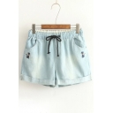 Leisure Cat Embroidery Drawstring Waist Turn Up Hem Casual Denim Shorts