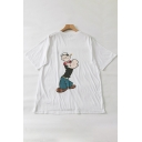 Fashionable Cartoon Letter Print Round Neck Short Sleeves Unisex Tee