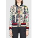Top Sale Zip Up Floral Tiger Panther Leopard Print Long Sleeve Cropped Baseball Jacket