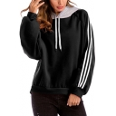 Simple Striped Pattern Long Sleeve Pullover Loose Drawstring Hoodie
