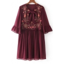 Top Sale Bow Tie V-Neck Ruffle Sleeve Floral Embroidered Loose Mini Smock Dress