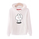 Cartoon Rabbit Printed Long Sleeve Leisure Hoodie with Pocket