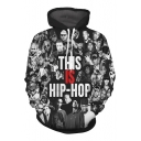 Digital Hip-Hop Style Letter Character Printed Long Sleeve Loose Hoodie