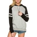 Sportive Color Block Striped Side Long Sleeves Pullover Pocket Hoodie