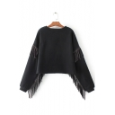 Chic Tassel Detail Round Neck Long Sleeves Pullover Cropped Sweatshirt