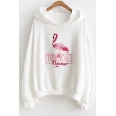 Chic Flamingo Letter Embroidered Leisure Long Sleeve Hoodie