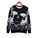 3D Skull Printed Round Neck Long Sleeve Pullover Sweatshirt
