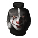 Digital Dreadful Clown Face Printed Long Sleeve Leisure Hoodie with Pocket
