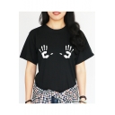 Chic Simple Hand Printed Round Neck Short Sleeve Leisure Loose Tee