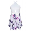 Summer Fashion Cross Back Lace-up Hollow Waist Floral Print Mini A-line Dress