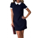 Casual Lapel Short Sleeve Color Block Zip Back Mini T-shirt Dress
