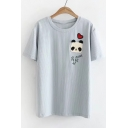 Panda Heart Pattern Patched Striped Printed Round Neck Short Sleeve Tee