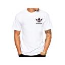Leisure Floral Letter Pattern Round Neck Short Sleeves Summer T-shirt