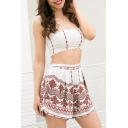 Fashion Floral Printed Off The Shoulder Bandeau Top with Zipper Fly Shorts Co-ords