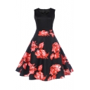 Hot Fashion Floral Print V-Neck Sleeveless Patchwork Midi Fit & Flare Dress