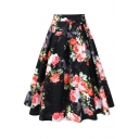 New Trendy Floral Printed Flare Zipper Fly Midi A-Line Skirt